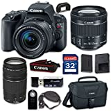 Canon EOS Rebel SL2 Digital SLR Camera & EF-S 18-55mm f/4-5.6 IS STM Lens, EF 75-300mm f/4-5.6 III - WiFi Enabled with 32GB Class 10 Memory Card, Wireless Remote & 100ES Shoulder Bag
