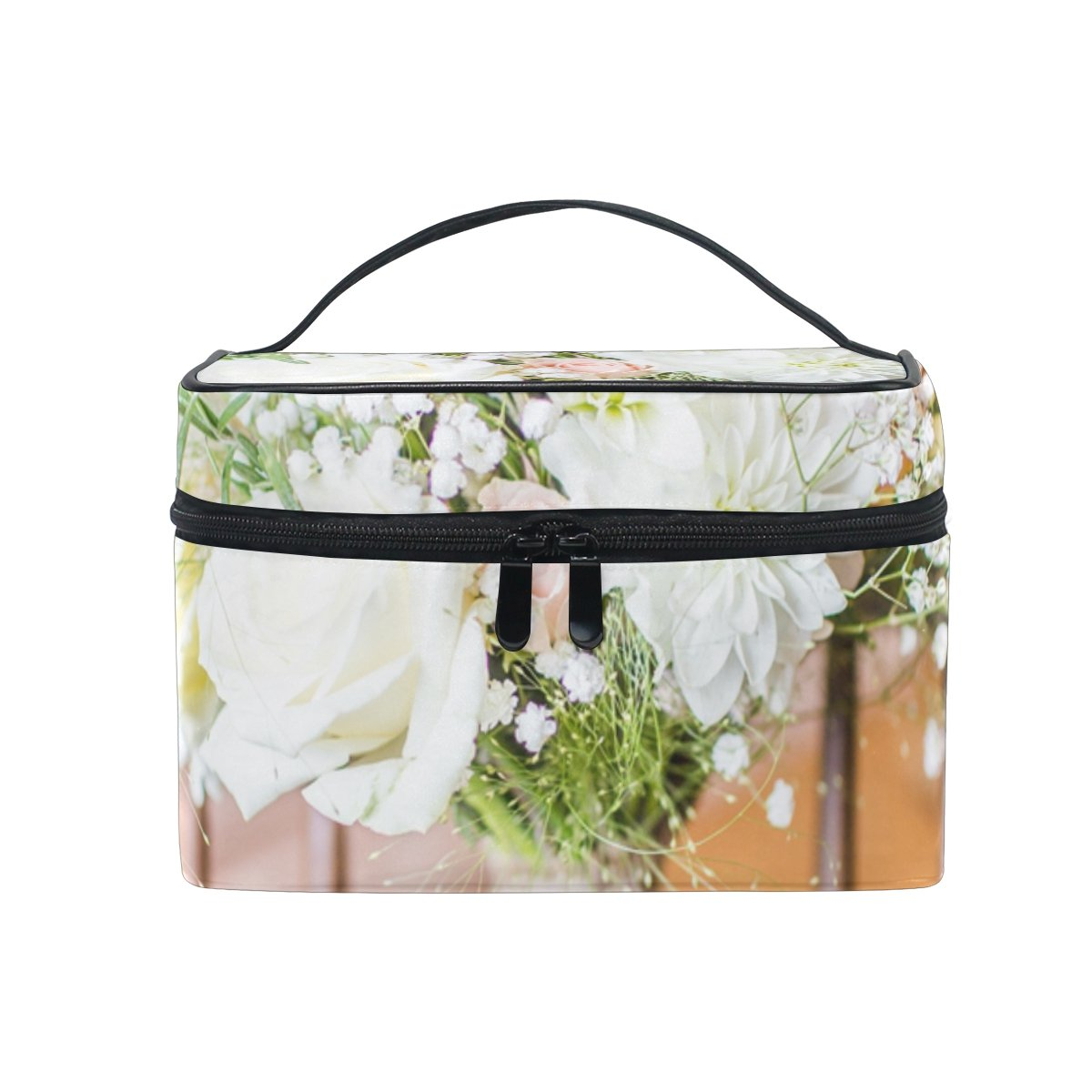 LENNEL DIY Pattern Wedding Flowers Bouquet Rustic Chair Makeup Case Carrying Portable Zip Travel Cosmetic Brush Bag Organizer Large for Girls Women