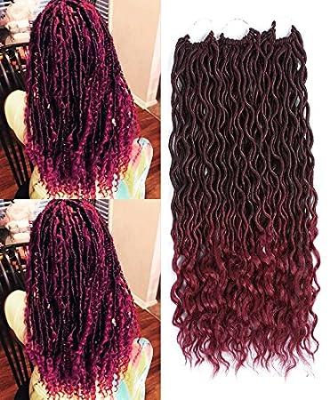 6Pcs Goddess Locs Crochet Braiding Hair wavy Faux Locs with curly end Soft Hair Extensions Deep Faux Locs Twist Braids (18, 1b/30) Ltd