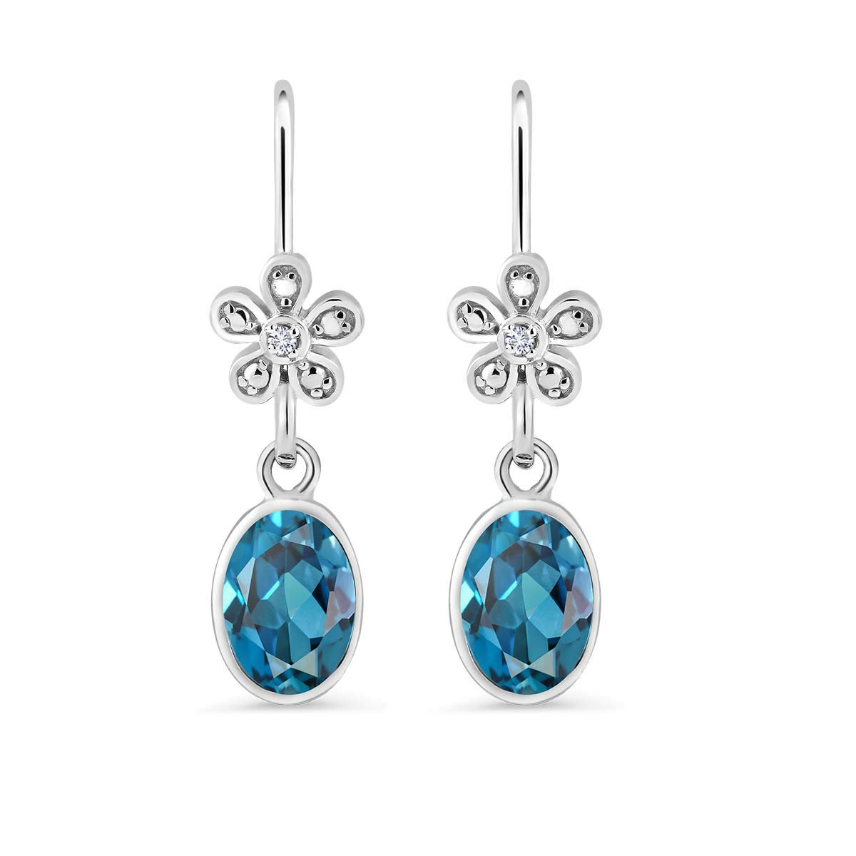 1824b7c95 Amazon.com: Sterling Silver London Blue Topaz Women's Dangle Earrings With  Accent Diamond (3.00 cttw): Jewelry