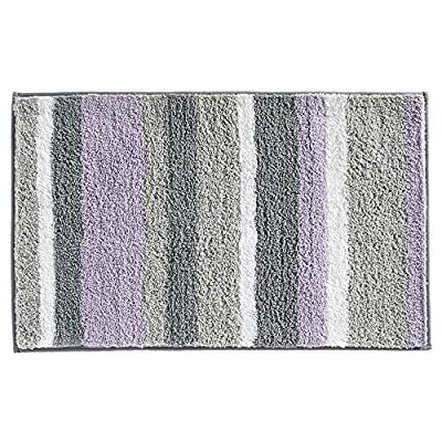 "iDesign Stripz Bath, Machine Washable Microfiber Accent Rug for Bathroom, Kitchen, Bedroom, Office, Kid's Room, 21"" x 34"", Lavender and Gray - HIGH QUALITY FABRIC: Made of 100% microfiber polyester, this non-slip lavender purple and gray shower rug adds modern and chic style to your bathroom, kitchen, child's room, master bedroom, office, craft room, and other places in your home. The fun striped design looks great with any decor style STURDY: The rug stays put with a non-skid, no-slip backing EASY MAINTENANCE: This bathroom rug is machine washable and hangs dry for easy cleaning - bathroom-linens, bathroom, bath-mats - 61WV1d2WliL. SS400  -"
