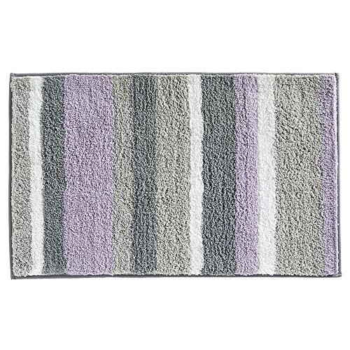 "61WV1d2WliL - InterDesign Microfiber Stripes Bathroom Shower Accent Rug - 34"" x 21"", Lavender/Gray"