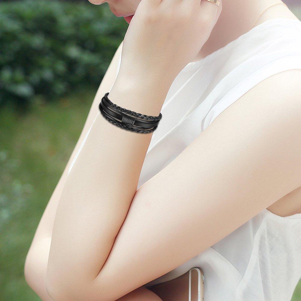 JewelryWe Schmuck Herren Damen Armband Schwarz Braun Silber Multi-Layered Wickelarmband Geflochten Leder Armband Armreif mit Magnetverschluss