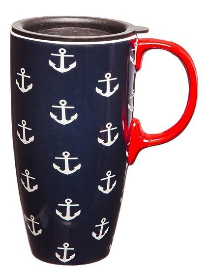 amazon com 17 oz anchors ceramic latte travel mug with gift box