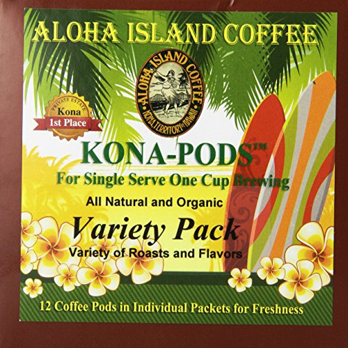 Aloha Island Coffee KONA-POD, Variety Pack of our Kona & Hawaiian Coffee Blend, 12-Count Coffee Pods