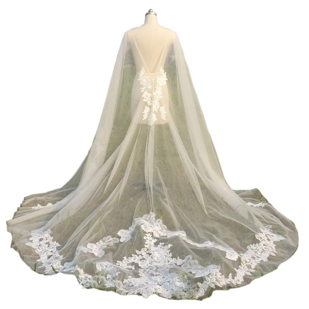 Ike Chimbandi White Wraps Appliques Lace Wedding Jacket Bridal Cloak (US12, White)
