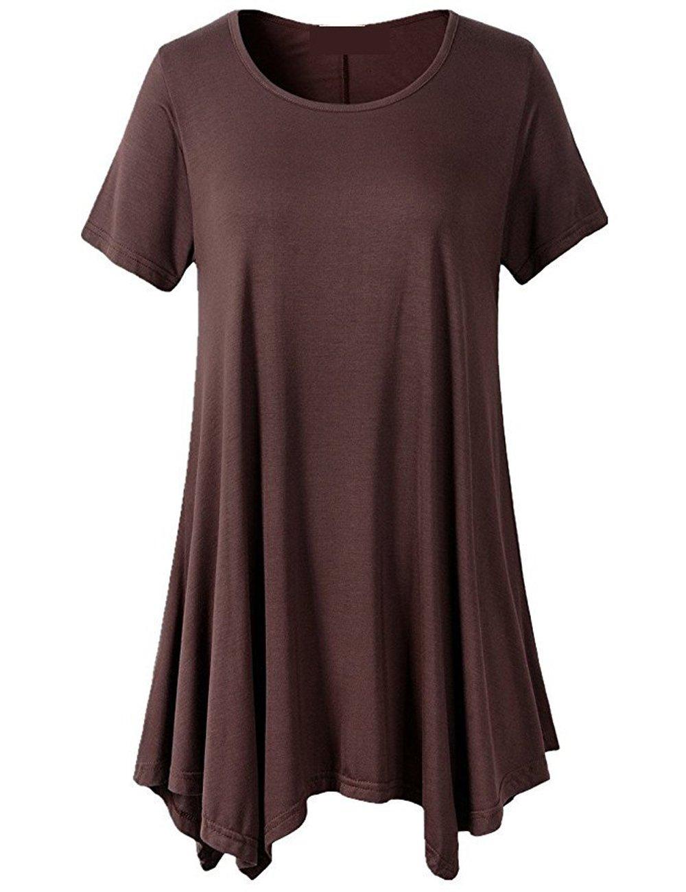 Women Swing Tunic Tops Comfy Flattering T Shirt (XXXL, Brown)