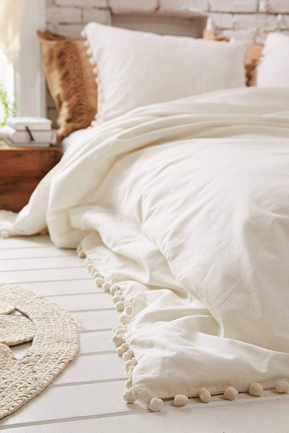 White Pom Pom Duvet Cover Fringed Boho comforters Cotton Cover Twin, 68inx90in