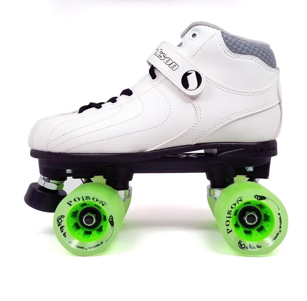 Jackson Vibe Quad Roller Skate w/ Green 62x44 Poison Wheels and FREE Devaskation Drawstring Bag - White Size 4 by Atom 2