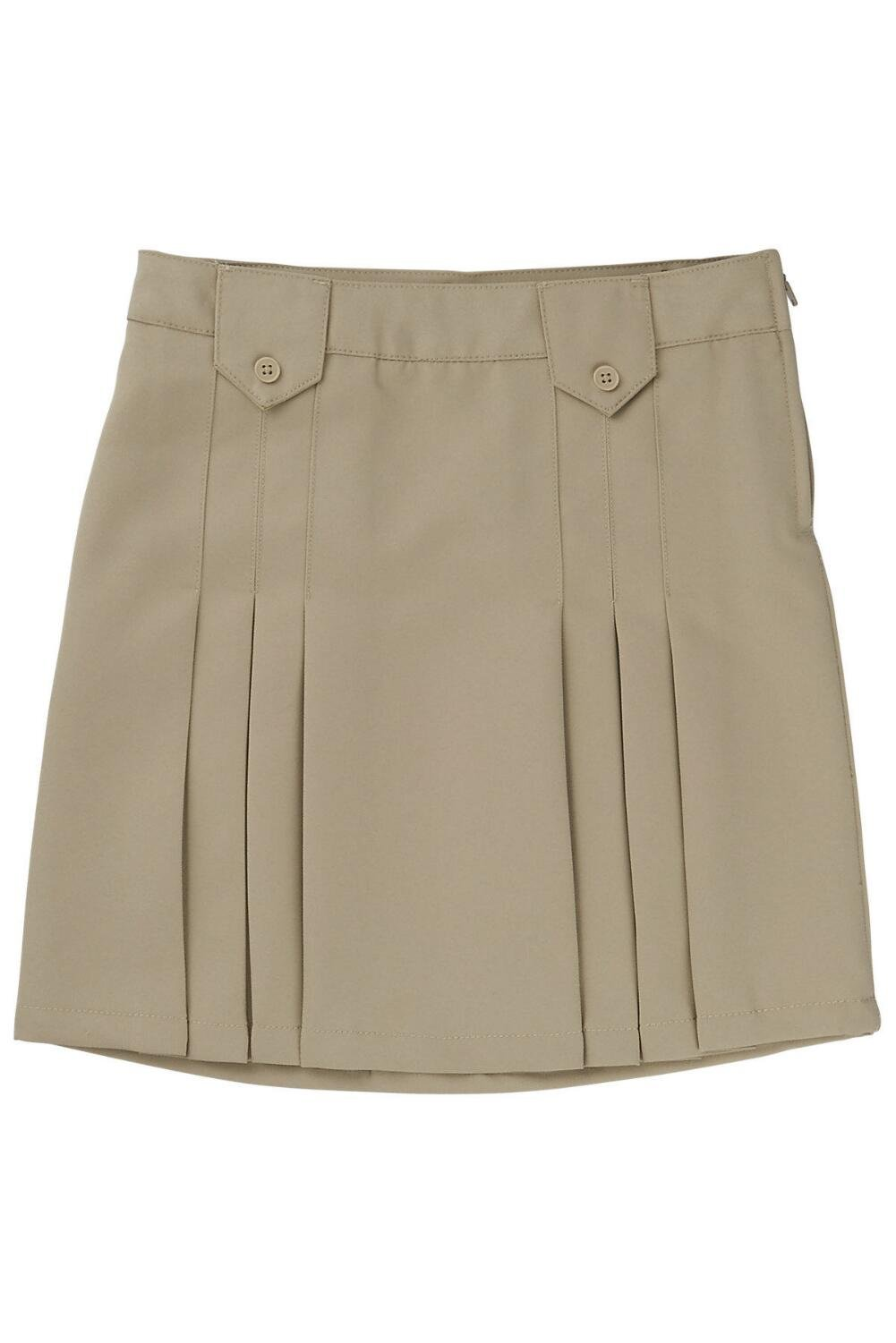 French Toast Big Girls' Front Pleated Skirt with Tabs, Khaki, 14