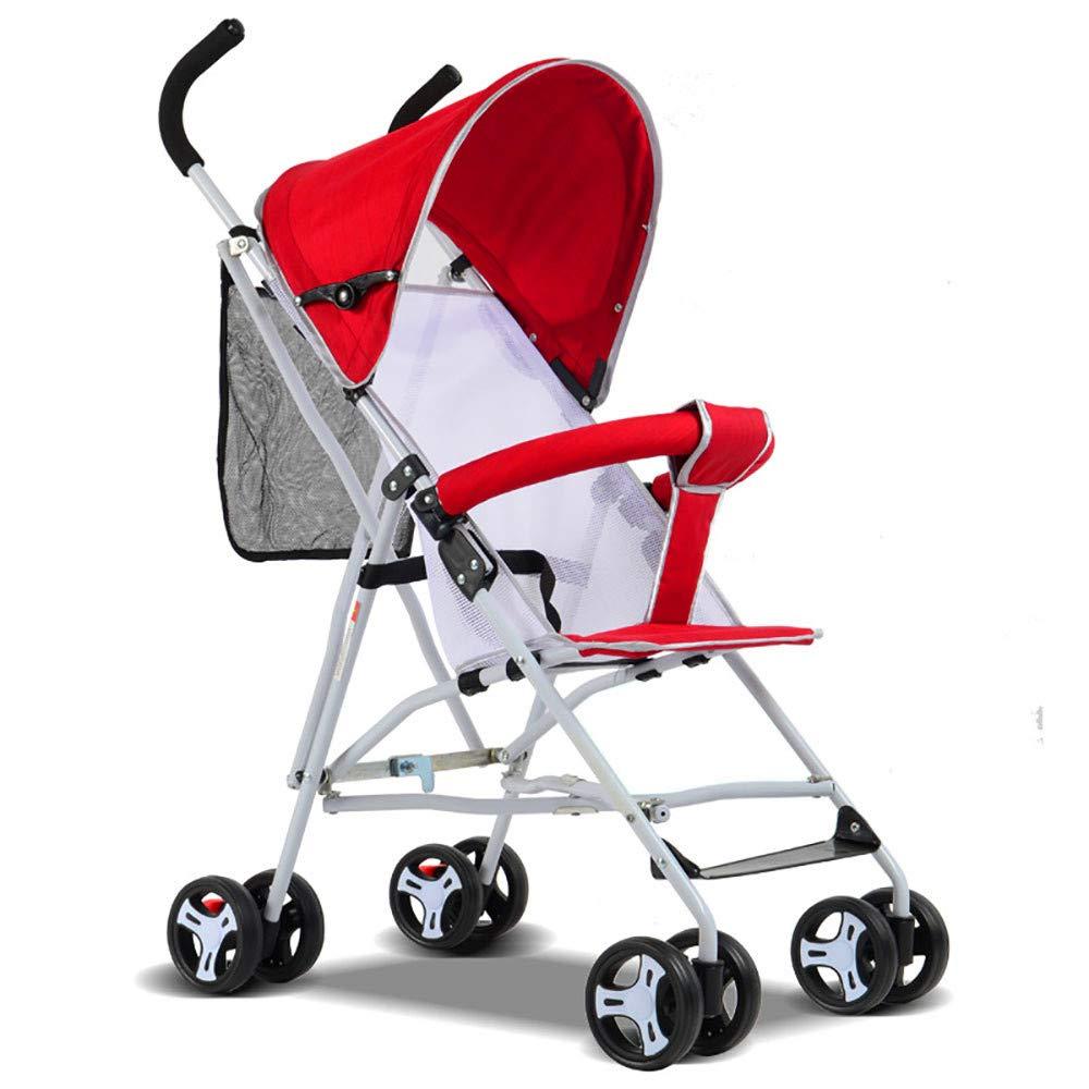 折り畳み式ベビーカー、軽くて持ち運びが簡単、四輪ベビートロリー5色のオプション  Red B07NVJT3BZ