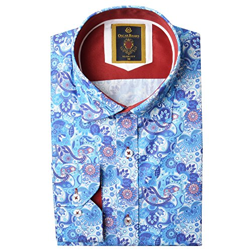 Oscar Banks Summer Paisley Mens Shirt 2XLarge Blue Pink