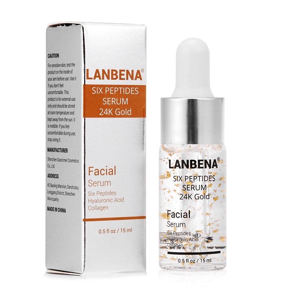 Wrinkle Remover, Six Peptides Serum 24K Gold Anti-aging Serum Anti-wrinkle Firm Fine Lines Moisturizing Brrnoo