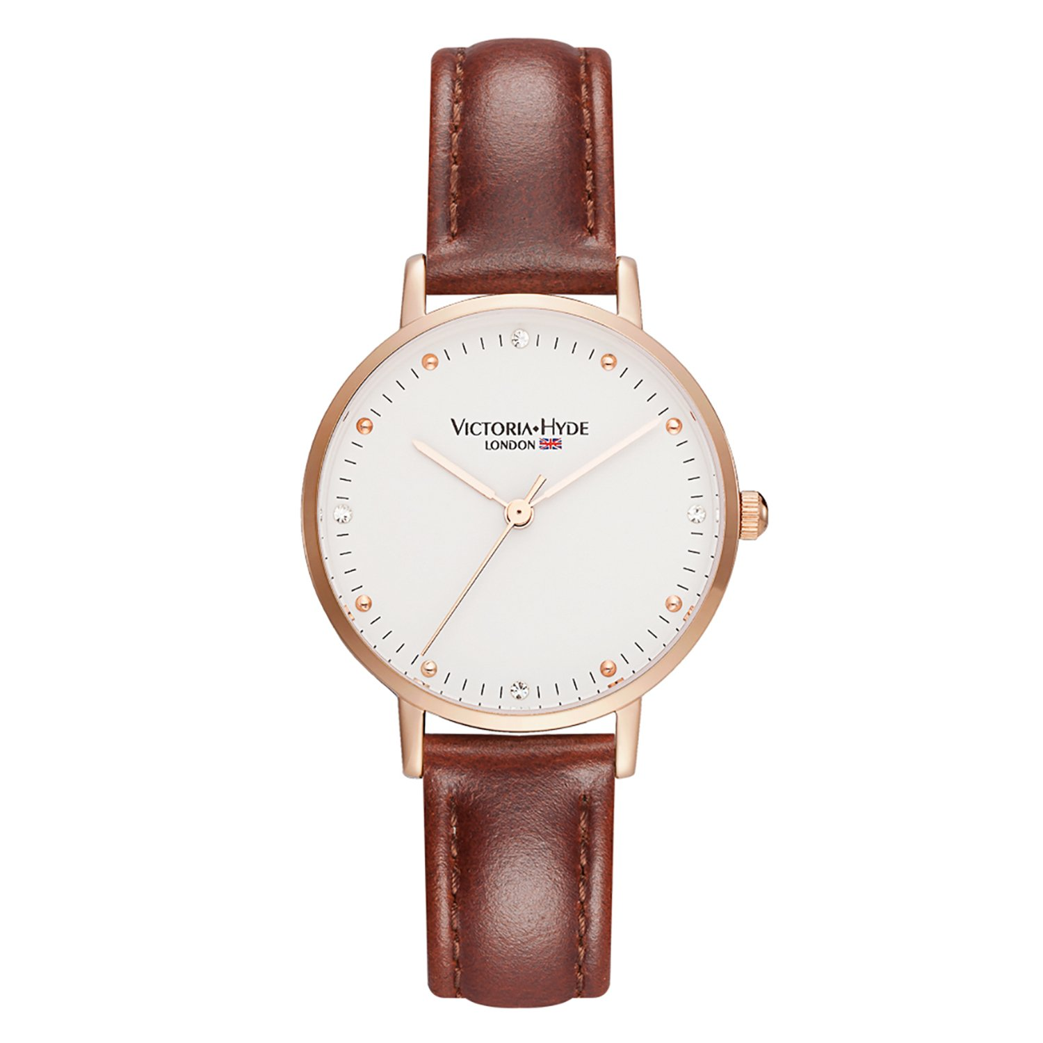 Amazon.com: VICTORIA HYDE Women Quartz Watches Leather Band Brown Wristwatches for Ladies: VICTORIA HYDE: Watches