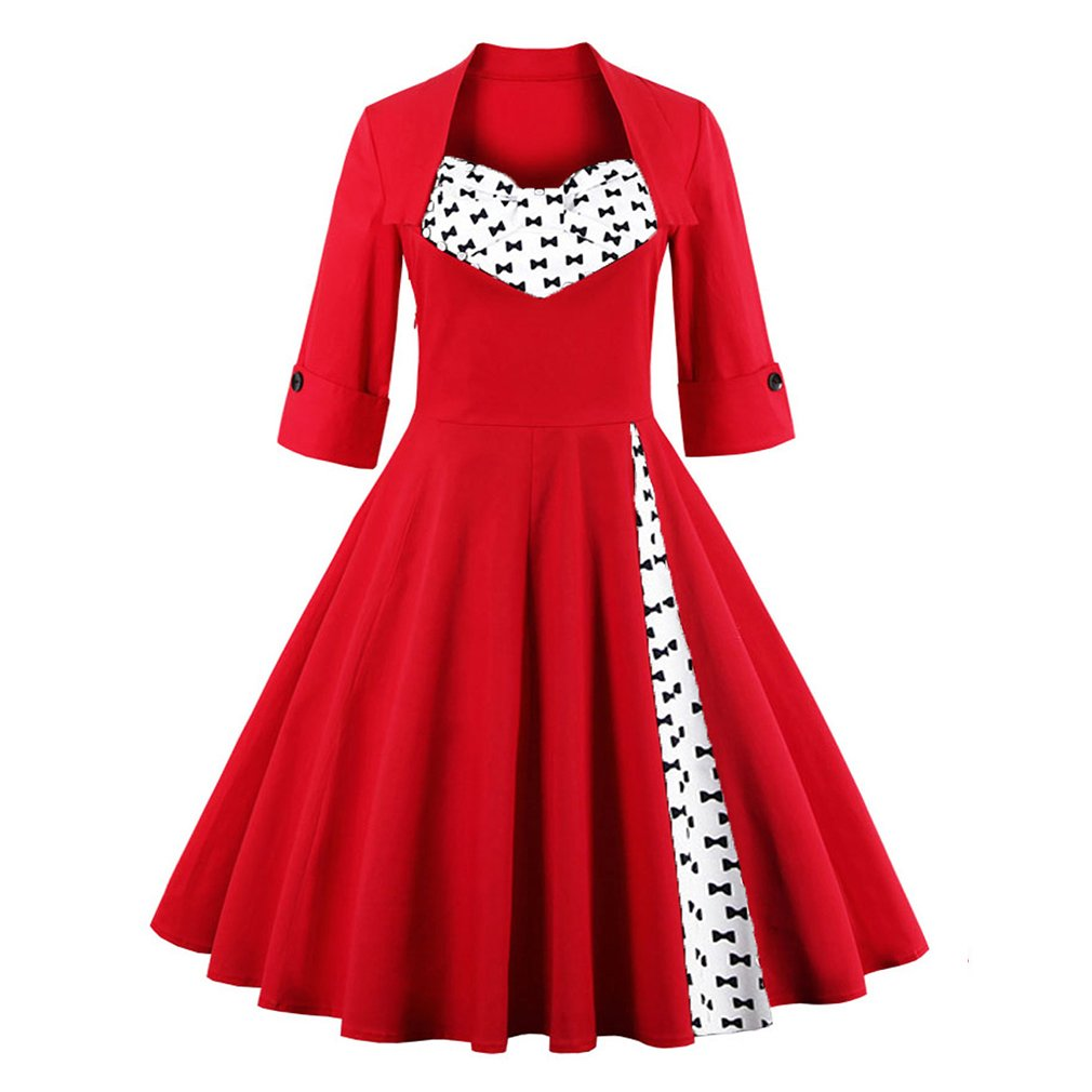 Vintage Retro Dress For Women Elegant Autumn Patchwork 50s Dress Casual Evening Party Swing Plus Size Sexy Dress Vestidos at Amazon Womens Clothing store: