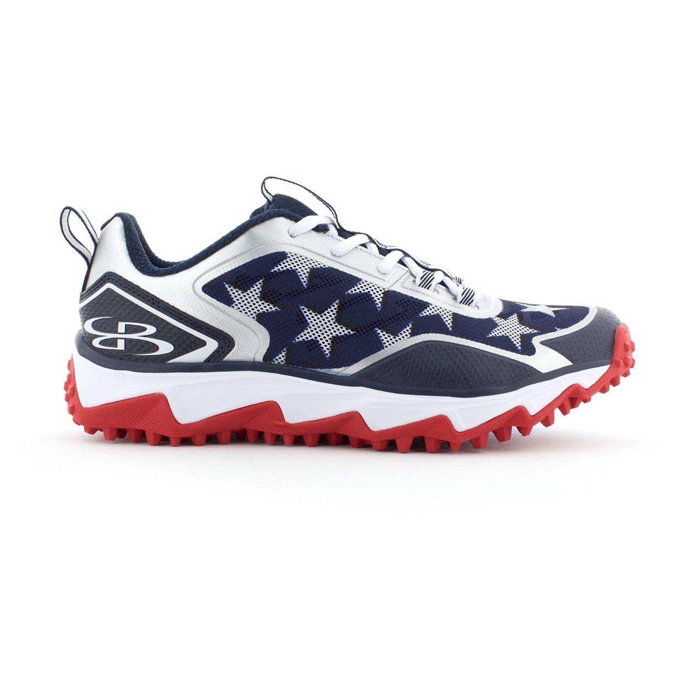 BoombahメンズBerzerk Turf Shoes – 13色オプション – 複数のサイズ B0769YZP53 10.5|ネイビー/レッド/ホワイト ネイビー/レッド/ホワイト 10.5