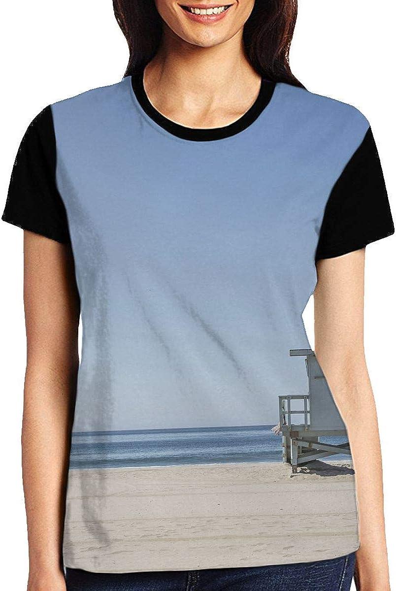 Ocean Beach Blue Sky Horizon Lifeguard Womens 3D Graphic Before Printing Short Sleeve T-Shirt Novelty Tee