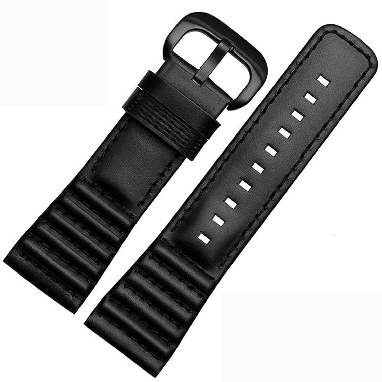 Seven Fridayバンド28 mm Cowレザーm1 m2 p1 p2 p3 V1 v2腕時計ストラップ 28mm-width ブラック white line-black buckle B07175BW4G