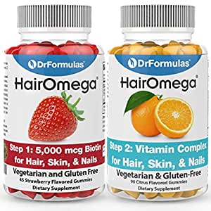 Hairomega Hair Skin and Nails Gummies - No Bears Included - Made with Sugar not Corn Syrup Gummy by DrFormulas