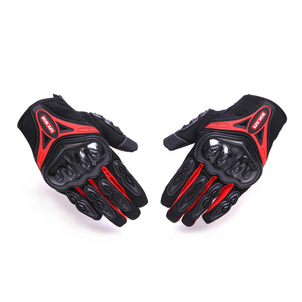 Motorcycle gloves Full finger durable for road racing bike summer spring Powersports support touch screen red-L
