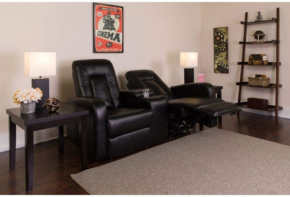Flash Furniture Eclipse Series 2-Seat Reclining Black LeatherSoft Theater Seating Unit with Cup Holders: Furniture & Decor