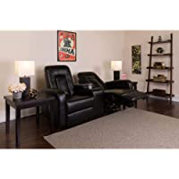 Flash Furniture Eclipse Series 2-Seat Reclining Black LeatherSoft Theater Seating Unit with Cup Holders