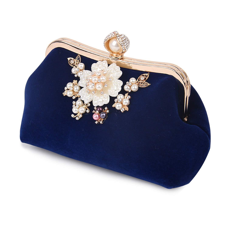 Lady Fashion Flowers Pearl Design Evening Clutch Bags,blue