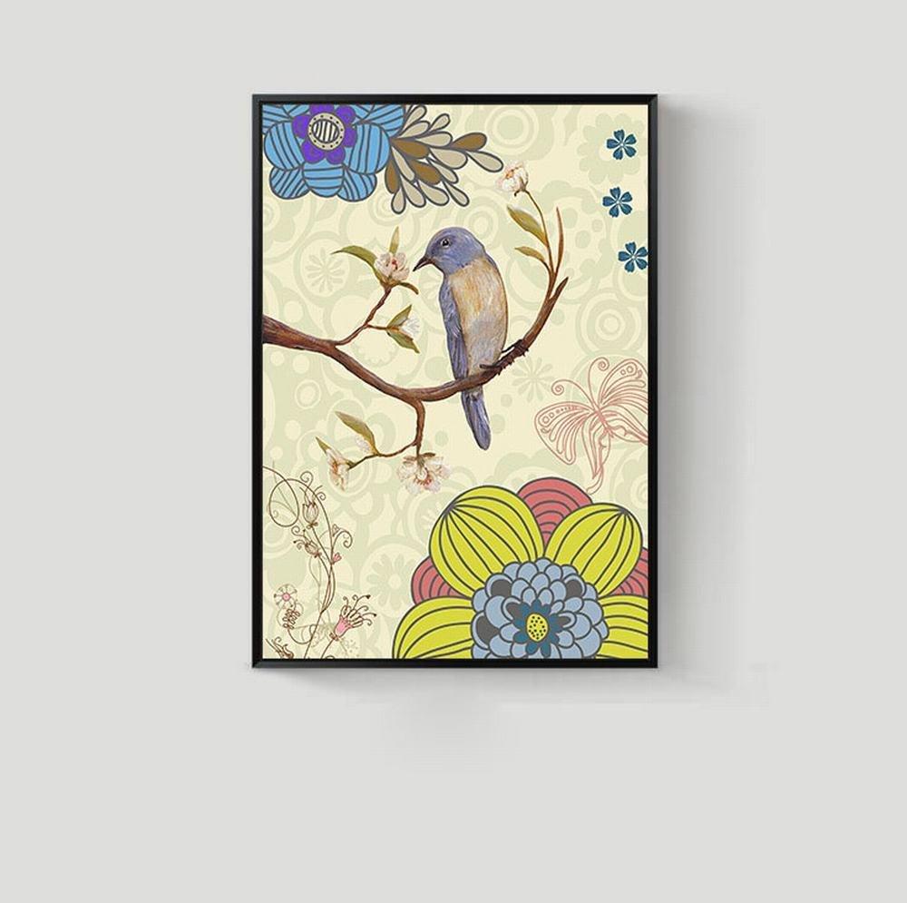 WJ Flores Y Pájaros Del Jardín Del Estilo Europeo Y Americano Pintura Decorativa Sala Arte Murales Entrada Vestíbulo Dormitorio Pintura Casera,UN,50  70cm