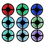 YHG 12v Flexible RGB LED Strip Light, LED Tape, Multi-colored, 300 Units 5050 Leds, waterproof, Adhesive Light Strips, Pack of 5m