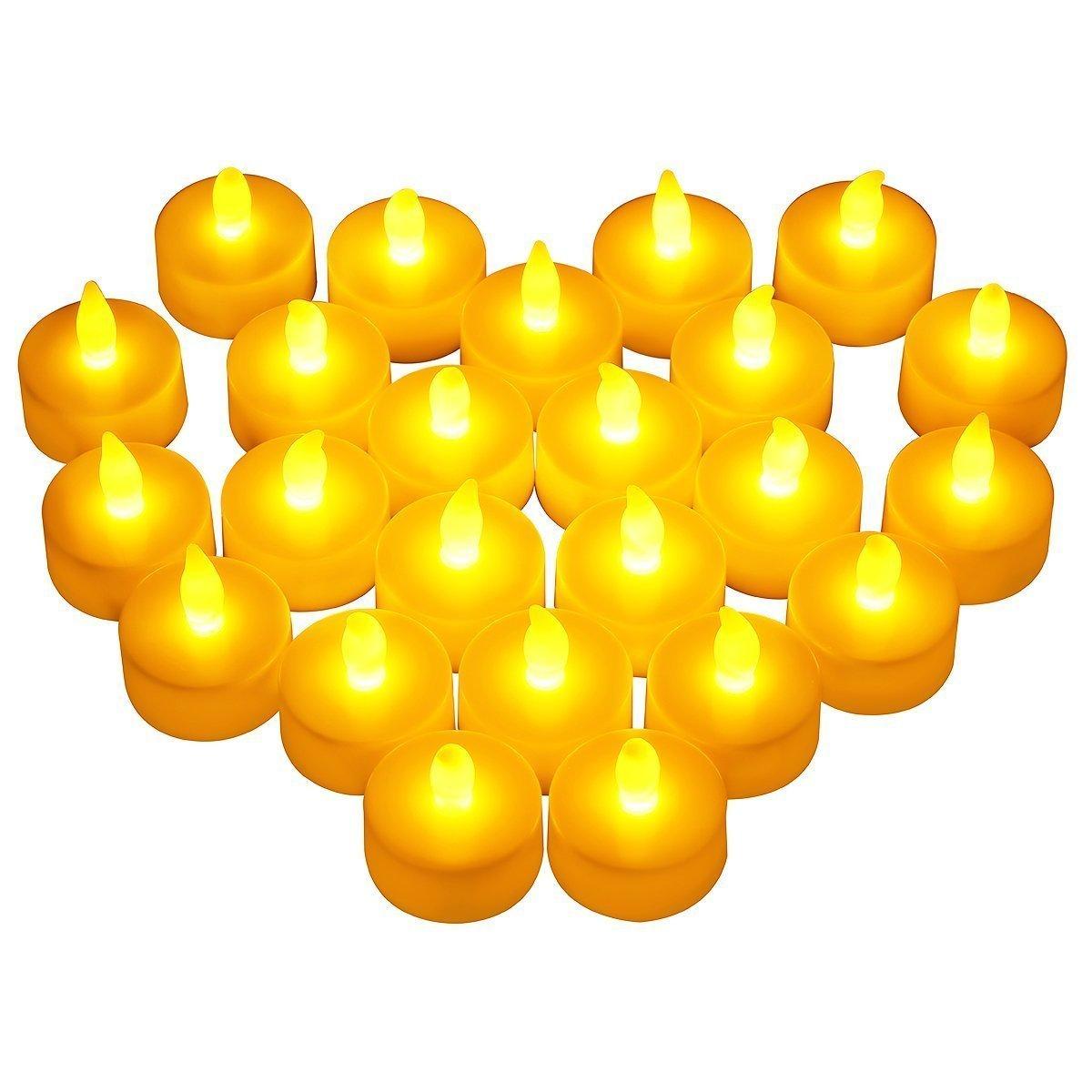 VicTsing 24 Velas LED, Tiene una Autonomía de 100 Horas y las Velas son de 4cm de Diámetro y 2cm, Tendrán un Ambiente Adecuado y Elegante para la Celebración Estacional y del Festival VTGELE012AW-ESAE2