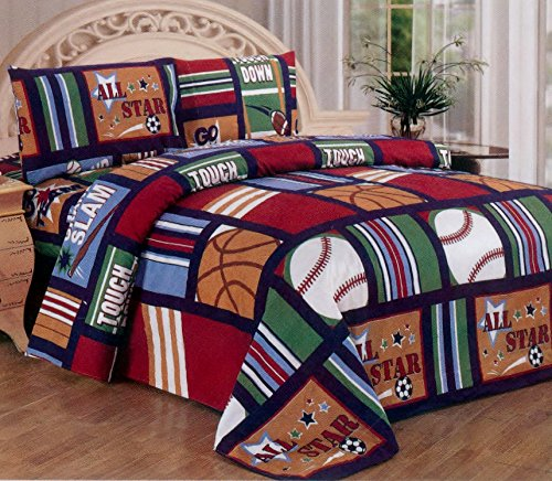 Fancy Collection Blue Red Green Sport Kids/teens 3 Pc Sheet Set Pillow (Twin Baseball Bedding)