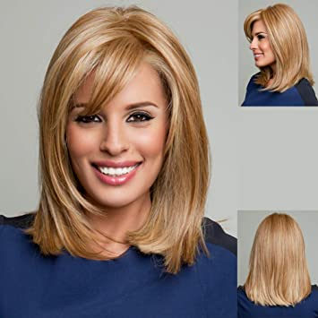 Gnimegil Shoulder Length Strawberry Blond Hair Wigs For Women Heat Resistant Synthetic Hair Natural Straight Hairstyles Slightly Curled Full Wig