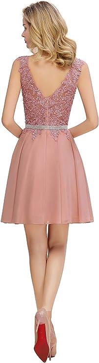 MisShow damska odświętna sukienka balowa, wieczorowa, koktajlowa, długość do kolan, głębokie wycięcia, suknia ślubna: Odzież