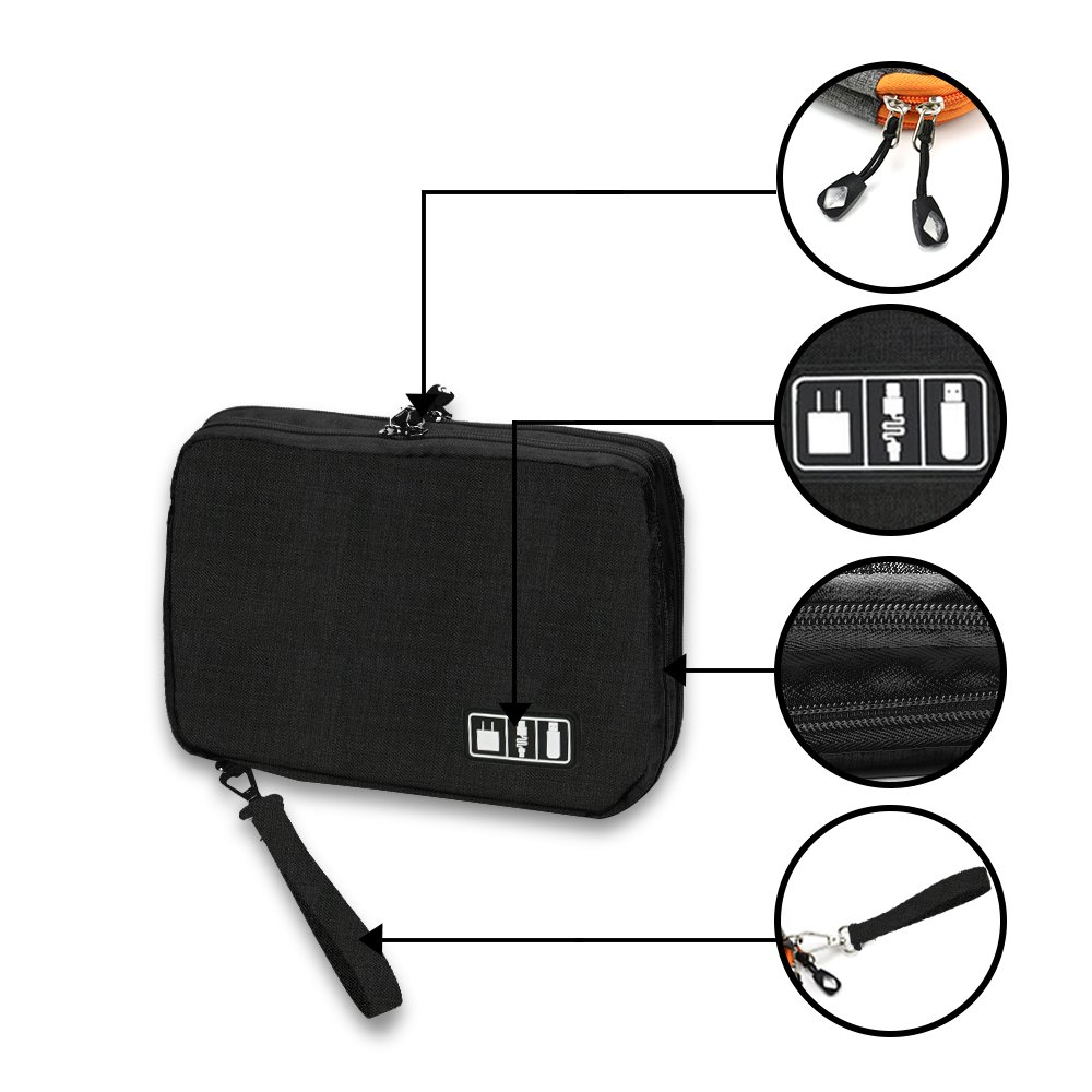 ipad And Other Phone Accessories Universal Electronics Organizer Travel Case Two Layers Travel Accessories Necessities Bag For Cables chargers cords L,Grey