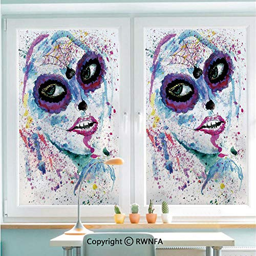 (RWNFA Decorative Window Films Kitchen Glass Sticker Grunge Halloween Lady with Sugar Skull Make Up Creepy Dead Face Gothic Woman Artsy Waterproof Anti-UV for Home and Office 22.8