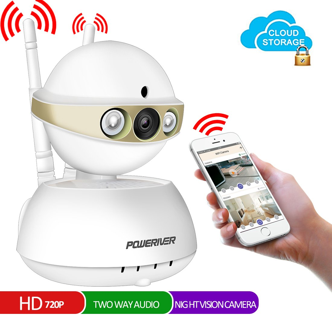 Home Camera,POWERIVER WiFi IP Indoor Security System with Motion Detection,Two-Way Audio and Night Vision for Baby/Pet / Front Porch Monitor,Remote Control with iOS, Android, PC APP(Light Gold)