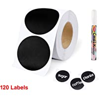 120 Round Chalkboard Labels with marker, Pantry and Storage Stickers for Jars, Pantry Labels for Jars, Mason, Spice, Glass, Cups, Containers, Canisters, Kitchen, Bathroom, Laundry Room, waterproof