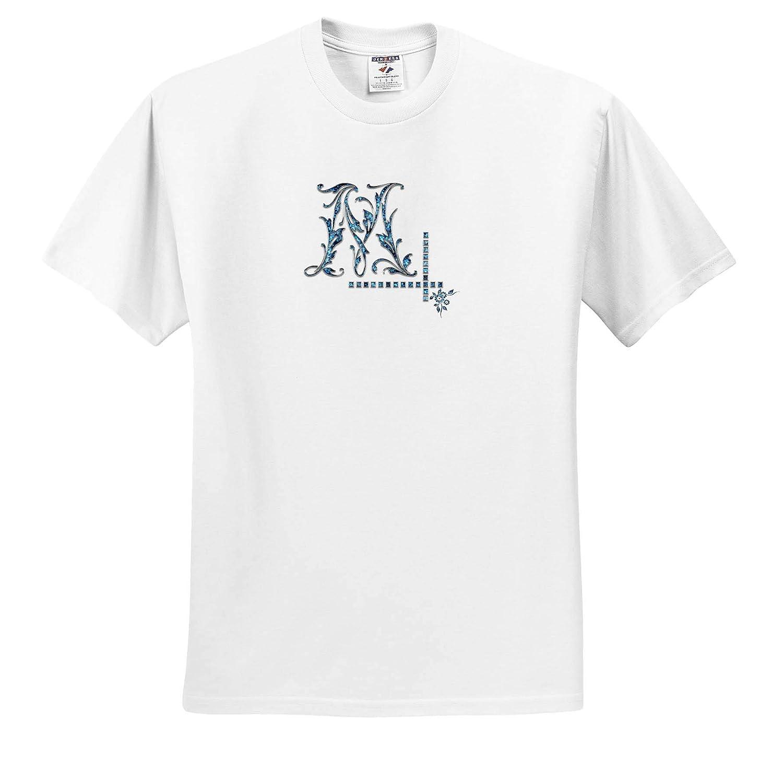 3dRose Alexis Design Fair Initial M Monogram Image of Blue gem T-Shirts Image of Blue Gemstone Impressive Monogram