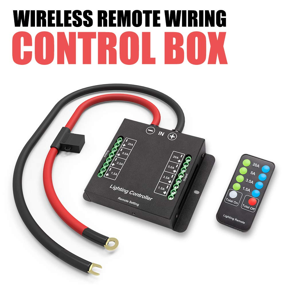 Electronic 8 Relay System Module Automotive Wireless Remote Wiring Control Box Power up to 8 Accessories and LED Off Road Light Bars Wiring Harness Kit With FREE Wireless Remote Control