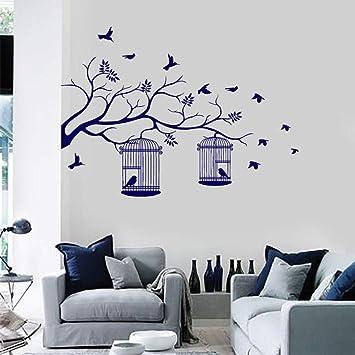 Rama de árbol con jaulas de pájaros Hojas Etiqueta de la pared ...