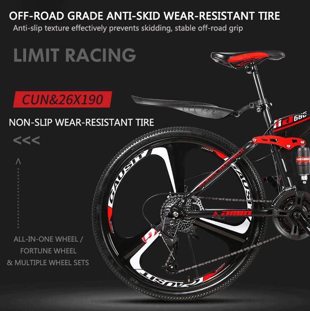 26Inch 24-Speed Double Disc Brake Full Suspension Anti-Slip Lightweight Frame Suspension Fork ZTYD Mountain Bike Folding Bikes