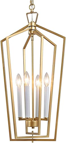 KSANA Gold Chandelier, 4-Light Modern Chandeliers for Dining Rooms with Candle-Style Lamp Base, W14 xH28.3