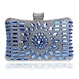 EPLAZA Women Rhinestone Beaded Evening Clutch Bags Bling Crystal Wedding Purse Handbags (blue)