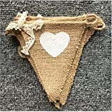 DYLANDY Heart Shape Printed Linen Pennant Flag Pennant Flag Banner for Wedding Birthday Party Home Bedroom Decoration