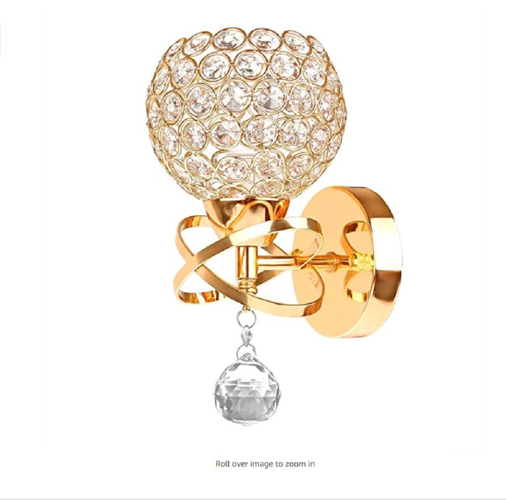 LgoodL Modern Luxury Crystal Wall Light Chrome Finish Wall Sconce Lighting Fixture Pendant Gold