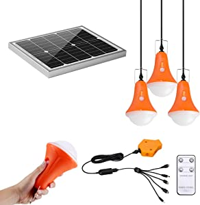 GVSHINE Camping Light System, 20W Solar Panel 4 Pack Rechargeable LED Bulbs 500 Lumen with Remote Control Digital Power Display for Hiking Hurricane Shed Playhouse Emergency with Phone Charger