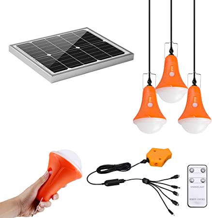 20W Solar Panel Powered LED Rechargeable Bulb Light Outdoor Camping Tent Lamp