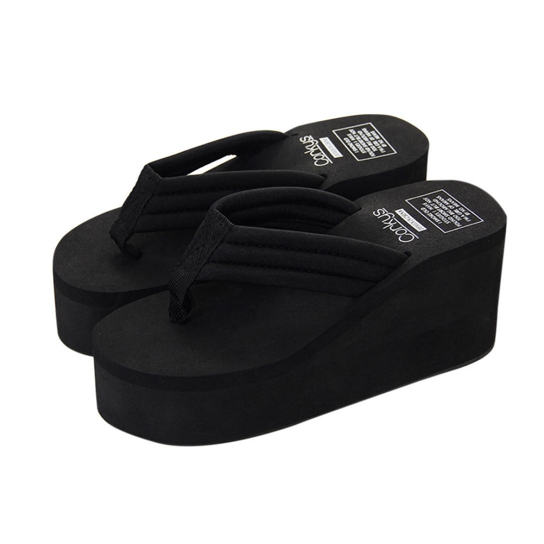 Women's Flip-Flops,EnjoCho Women Summer Platform Wedges Shoes Sandals Slipper Fashion Beach Shoes (US:6.5, Black)