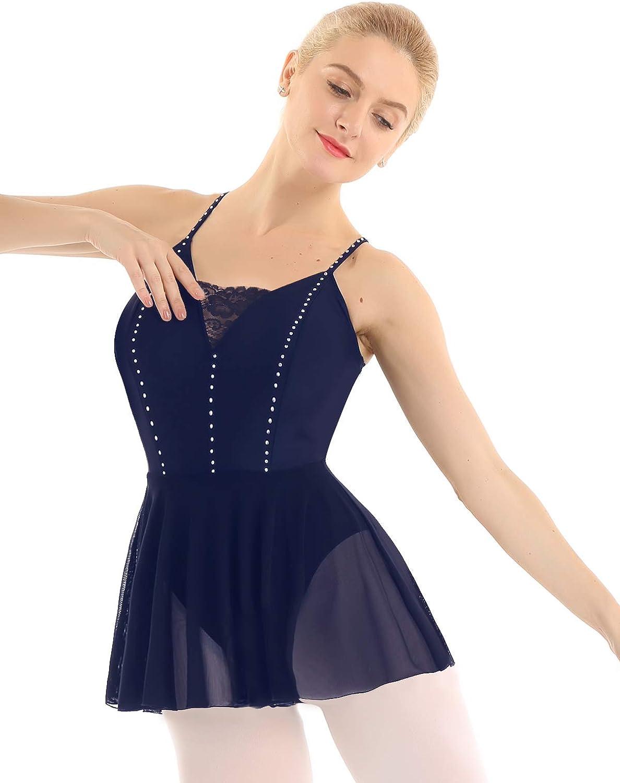 Freebily Maillots de Danza Ballet Mujer Vestido sin Mangas de Baile Bodies Tut/ú Falda de Danza Patinaje Ni/ñas Mujer Ropa Deportiva B/ásica con Braguita Interior
