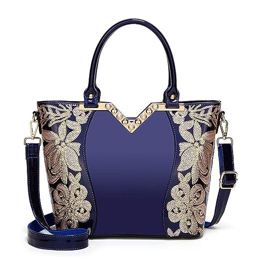 410e0f1ac308 Amazon.com: LIUGHGB Women H Bag Glossy Crossbody Sequin Flowers Tote ...